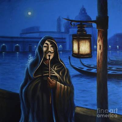 Occupy Painting - Anonymous In Venice by Ric Nagualero