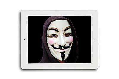 Anonymous Mask On Digital Tablet Print by Victor De Schwanberg
