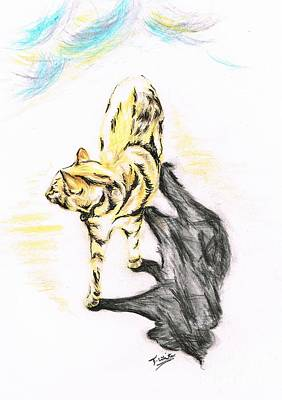 Another Cat Following Print by Teresa White