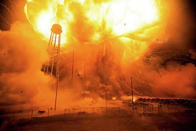 Fireball Photograph - Antares Rocket Explosion by Nasa/joel Kowsky