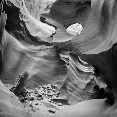 Antelope Canyon Rock Formations Bw Print by Melanie Viola