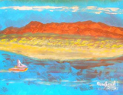 C.carson Painting - Antelope Island Great Salt Lake Utah 1 by Richard W Linford