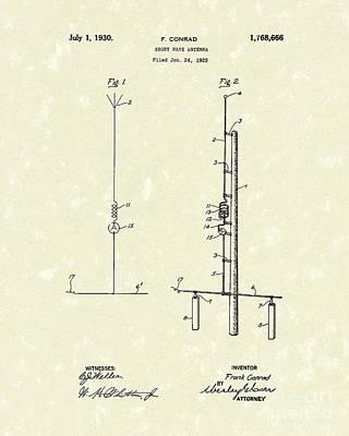 Antennae Drawing - Antenna 1930 Patent Art by Prior Art Design