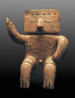 Precolumbian Photograph - Anthropomorphic Figure. 600-1600 by Everett