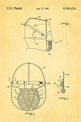 Odd Portrait Photograph - Anti Eating Mask Patent Art 1982 by Ian Monk