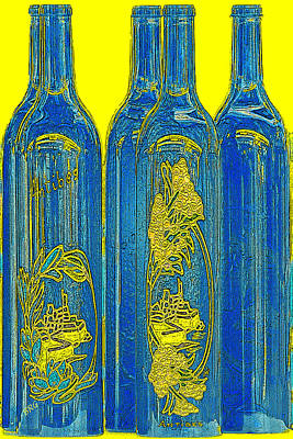 Antibes Blue Bottles Print by Ben and Raisa Gertsberg