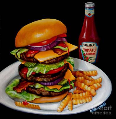Cheeseburger Painting - Anticipation by Gretchen Matta