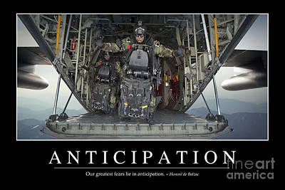Navy Seals Photograph - Anticipation Inspirational Quote by Stocktrek Images