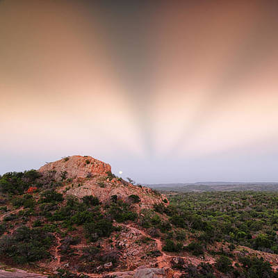 Anticrepuscular Rays Over Turkey Peak - Enchanted Rock State Natural Area Texas Hill Country Print by Silvio Ligutti