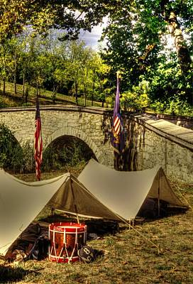 Antietam - 8th Connecticut Volunteer Infantry-a1 Encampment Near The Foot Of Burnsides Bridge Print by Michael Mazaika