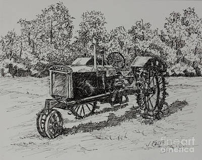 Drawing - Antigue Tractor by Janet Felts