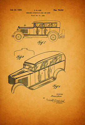 Antique Automobiles Drawing - Antique Automobile And Hood Patent 1929 by Mountain Dreams