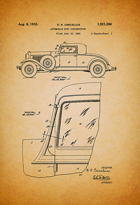 Antique Automobiles Drawing - Antique Automobile Body Patent 1933 by Mountain Dreams