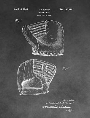 Hand Thrown Drawing - Antique Baseball Mitt by Dan Sproul