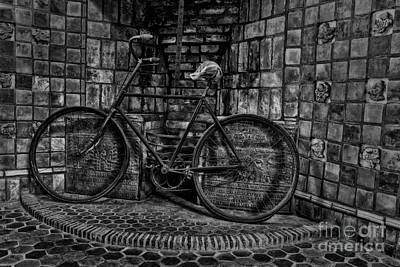 Antique Bicycle Bw Print by Susan Candelario