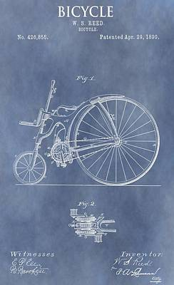 Bicycle Drawing - Antique Bicycle Patent 1890 by Dan Sproul