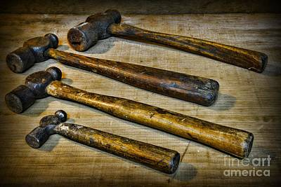 Antique Blacksmith Hammers Print by Paul Ward