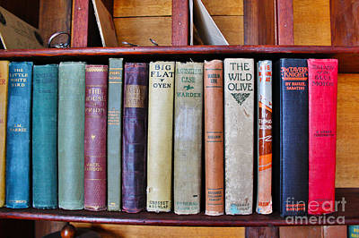 Antique Books On Shelf From 1860 Print by Janice Rae Pariza