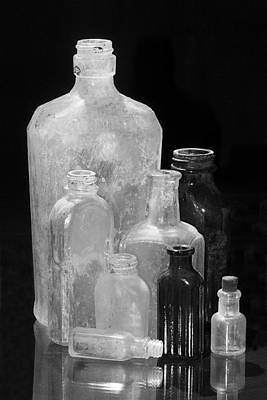 Antique Bottles 4 Black And White Print by Phyllis Denton