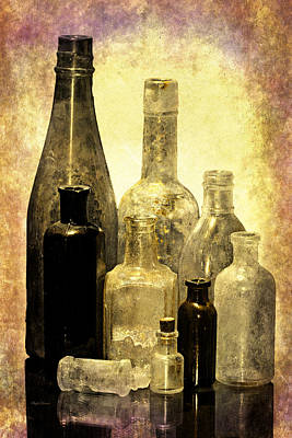 Relic Glass Photograph - Antique Bottles From The Past by Phyllis Denton