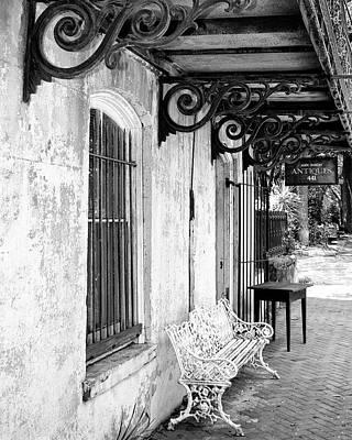 Window Bench Photograph - Antique Bw Savannah Ga by William Dey