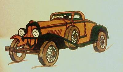 Antique Car Print by Christy Saunders Church