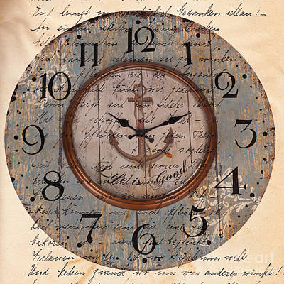 Antique Clock Anchor Vintage Wallpaper Print by Art World
