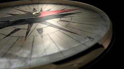 Antique Compass Closeup Print by Allan Swart