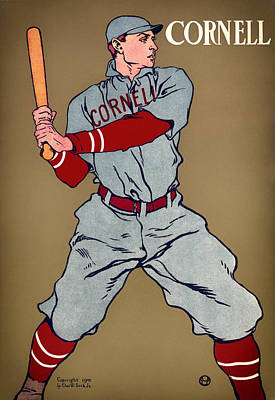 Baseball Art Drawing - Antique Cornell Baseball Poster 1908 by Mountain Dreams