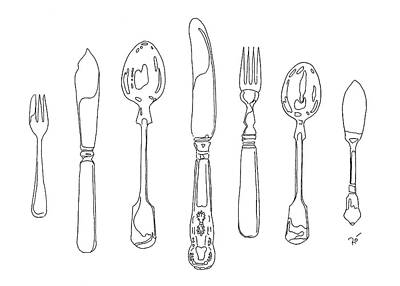 Stainless Steel Frame Drawing - Antique Cutlery Full House by Roisin O Farrell