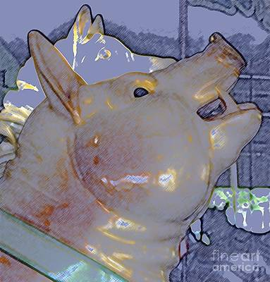 Animal Photograph - Antique Dentzel Menagerie Carousel Pig In Rochester New York With Colored Pencil Effect by Rose Santuci-Sofranko