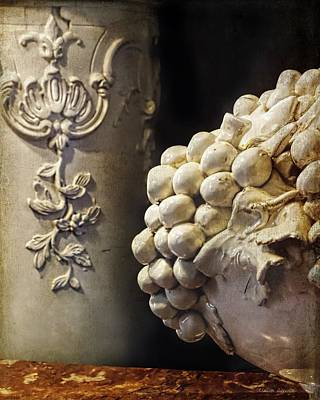 Ceramic Relief Photograph - Antique Faience Ceramic Fruit Bowl Grapes by Melissa Bittinger
