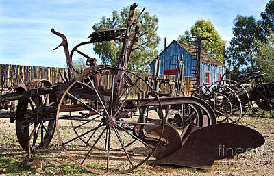 Antique Farm Equipment End Of Row Print by Lee Craig