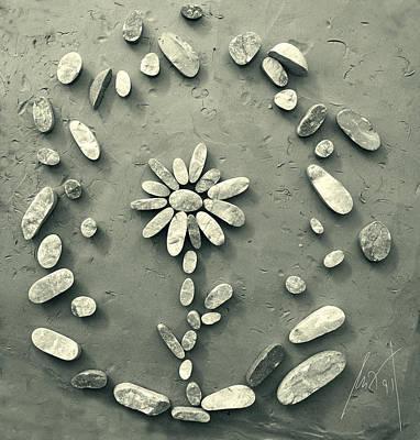 Stone Sculpture - Antique Flower by Milan Pilipovic