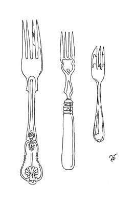 Stainless Steel Frame Drawing - Antique Fork Trio by Roisin O Farrell