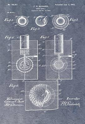 Antique Golf Ball Patent Print by Dan Sproul