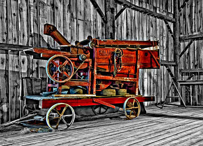 Antique Hay Baler Selective Color Print by Steve Harrington