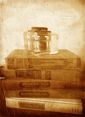 Antique Inkwell On Old Books Vintage Style Print by Ann Powell
