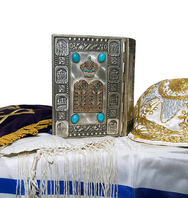 Silver Turquoise Photograph - Antique Jewish Bible Tallisand Yarlmulka by Jodi Jacobson