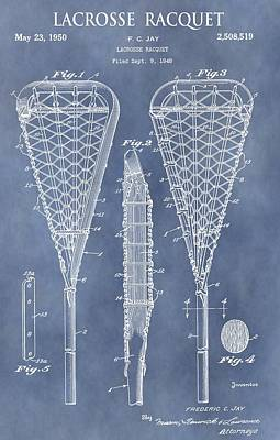 Player Drawing - Antique Lacrosse Racquet Patent by Dan Sproul