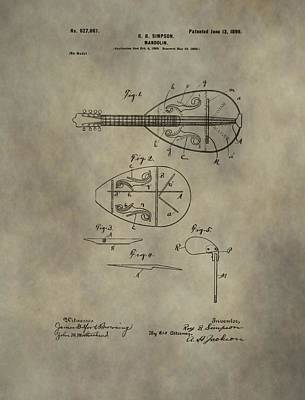 Chord Mixed Media - Antique Mandolin Patent by Dan Sproul