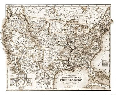 Atlantic Ocean Mixed Media - Antique Map 1853 United States Of America by Dan Sproul