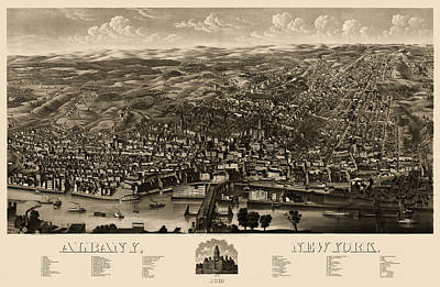 Antique Map Of Albany New York By H.h. Rowley And Co. - 1879 Print by Blue Monocle