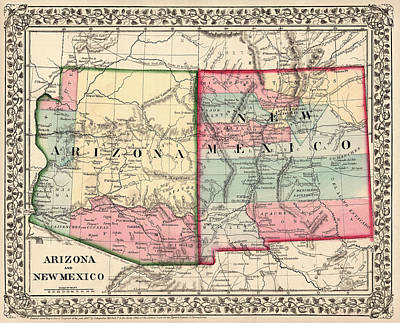 Southwest Drawing - Antique Map Of Arizona And New Mexico By Samuel Augustus Mitchell - 1867 by Blue Monocle