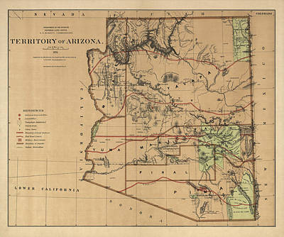 Southwest Drawing - Antique Map Of Arizona By The U.s. General Land Office - 1876 by Blue Monocle