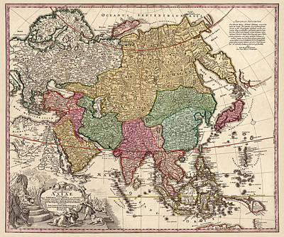 Old Drawing - Antique Map Of Asia By Johann Christoph Homann - Circa 1743 by Blue Monocle