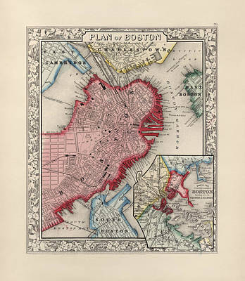 Boston Drawing - Antique Map Of Boston Massachusetts By Samuel Augustus Mitchell - 1863 by Blue Monocle