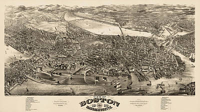 Boston Drawing - Antique Map Of Boston Masschusetts By H.h. Rowley And Co. - 1880 by Blue Monocle