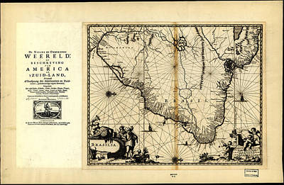 Paper Images Drawing - Antique Map Of Brazil 1671 by Celestial Images