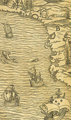 Antique Map Of Brazilian Coast Print by Giovanni Battista Ramusio